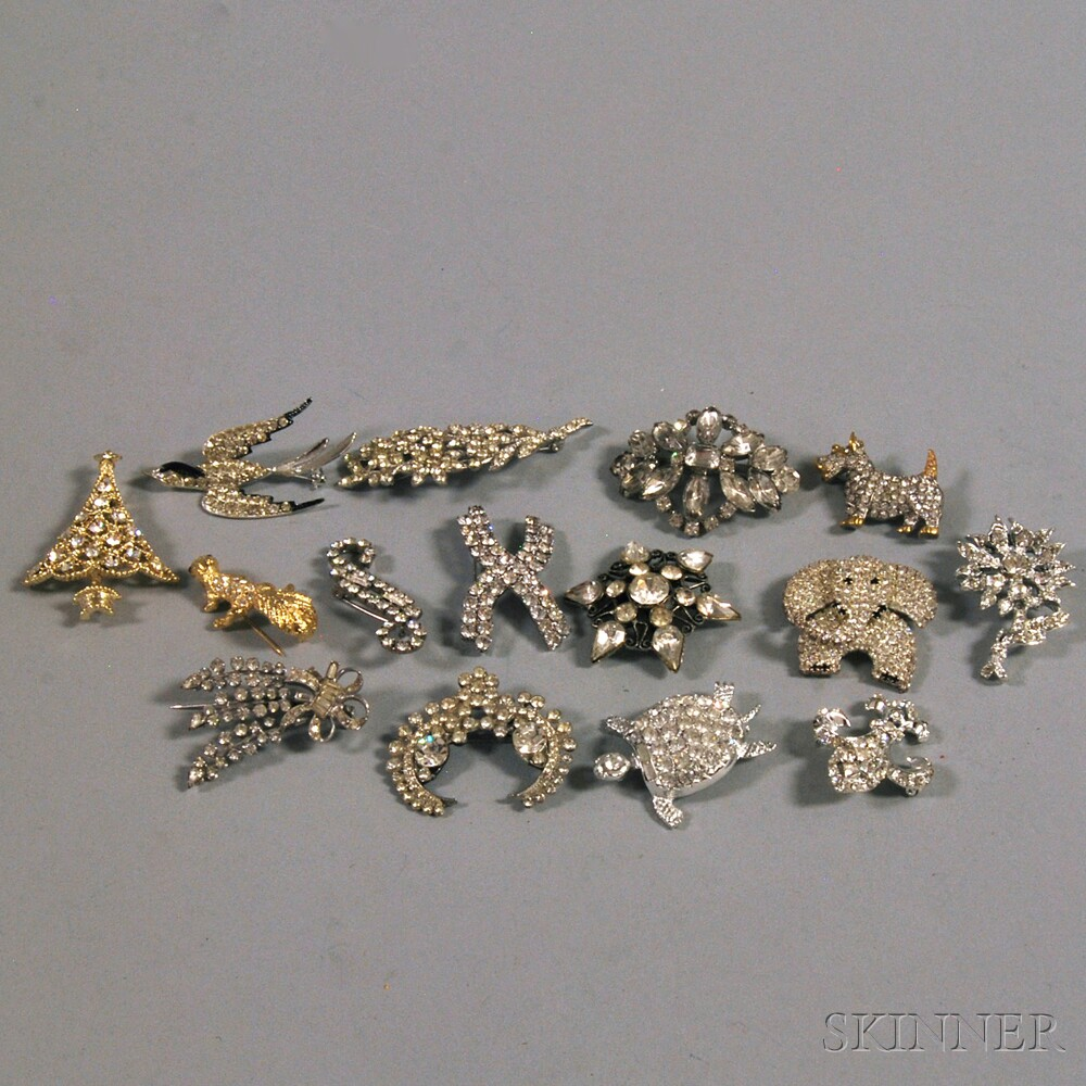 Small Group of Vintage Paste and Rhinestone BroochesSmall Group of Vintage...