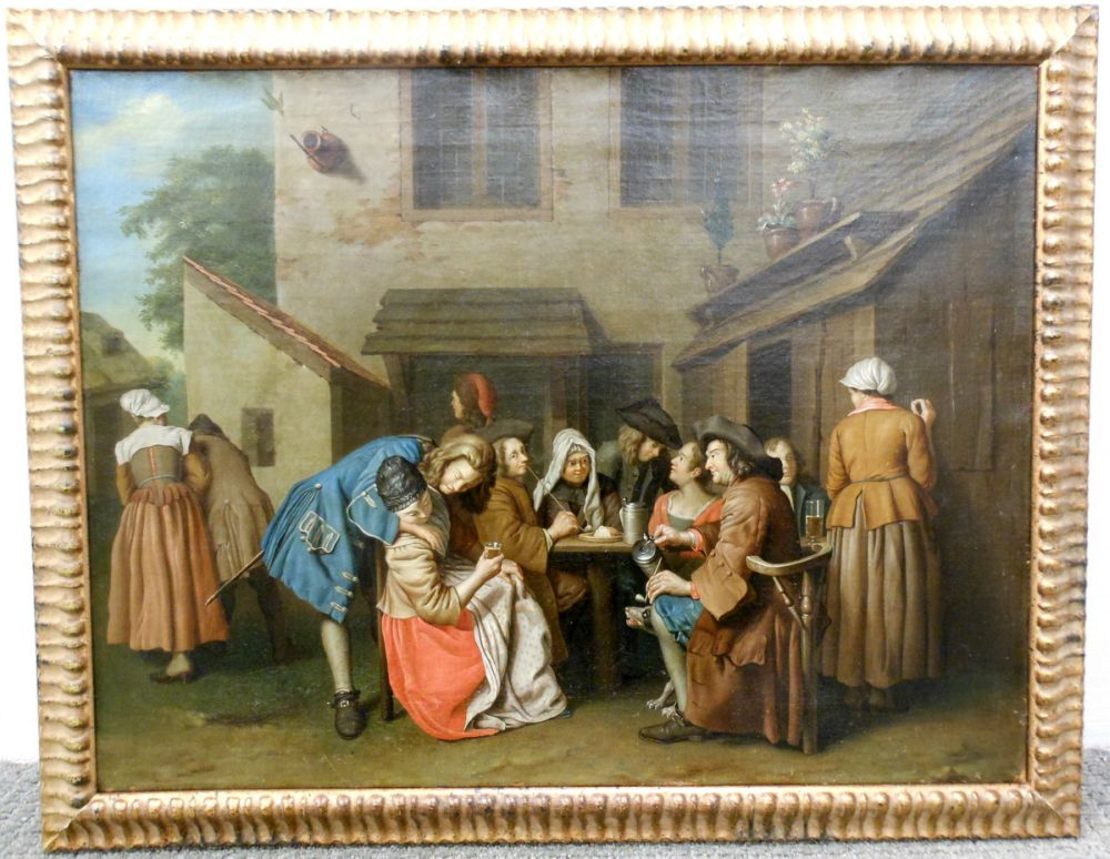 Flemish School, 18th Century      Figures Drinking in a Tavern Yard