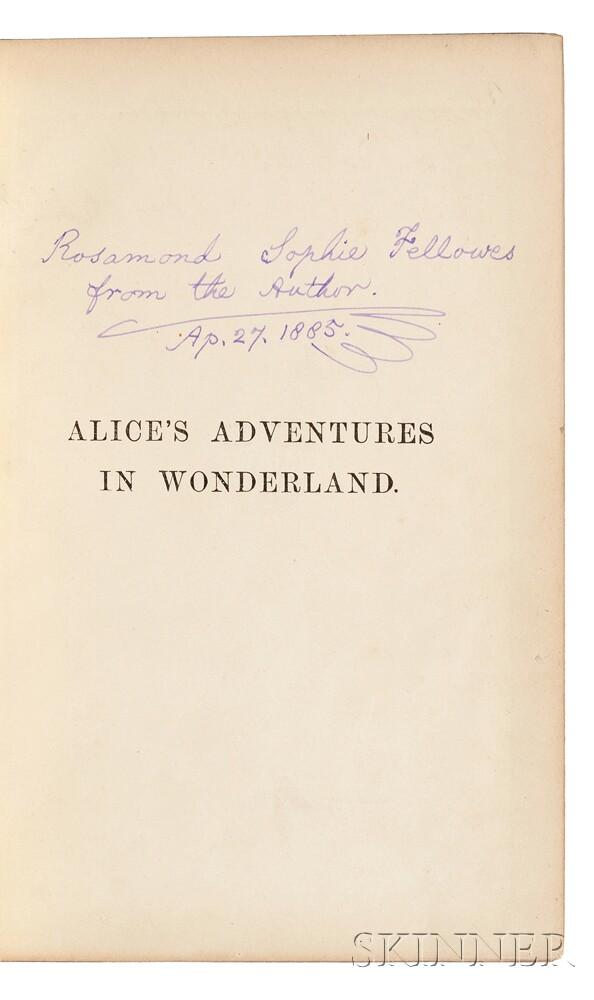 Dodgson, Charles Lutwidge [aka] Lewis Carroll (1832-1898) Alices Adventures in Wonderland, Presentation Copy with Autograph Letter Sig