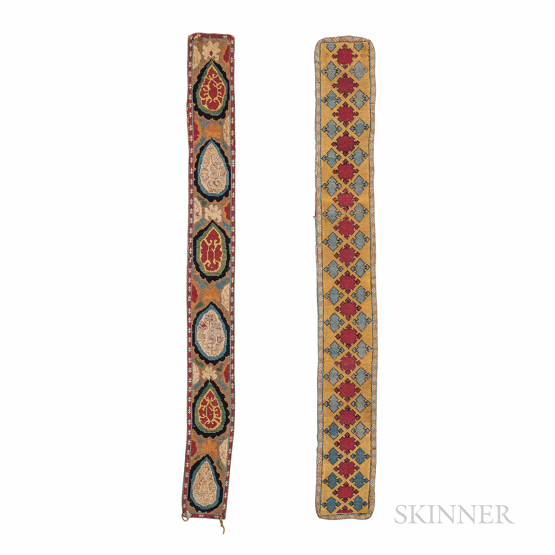 Two Silk Needlepoint Belts