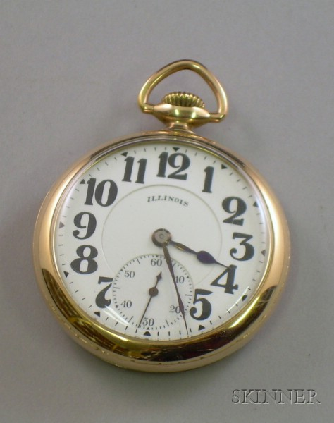 Illinois Gold Filled Open Face Bunn Special 21 Jewel Pocket Watch