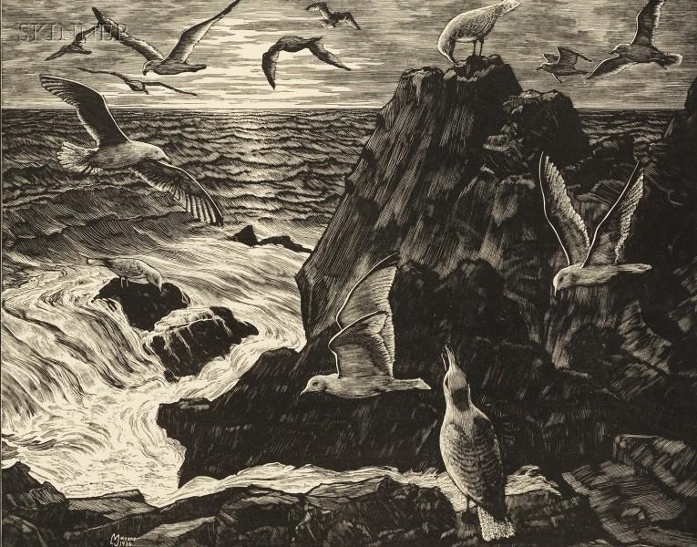 Leo John Meissner (American, 1895-1977)      Gulls at Dawn