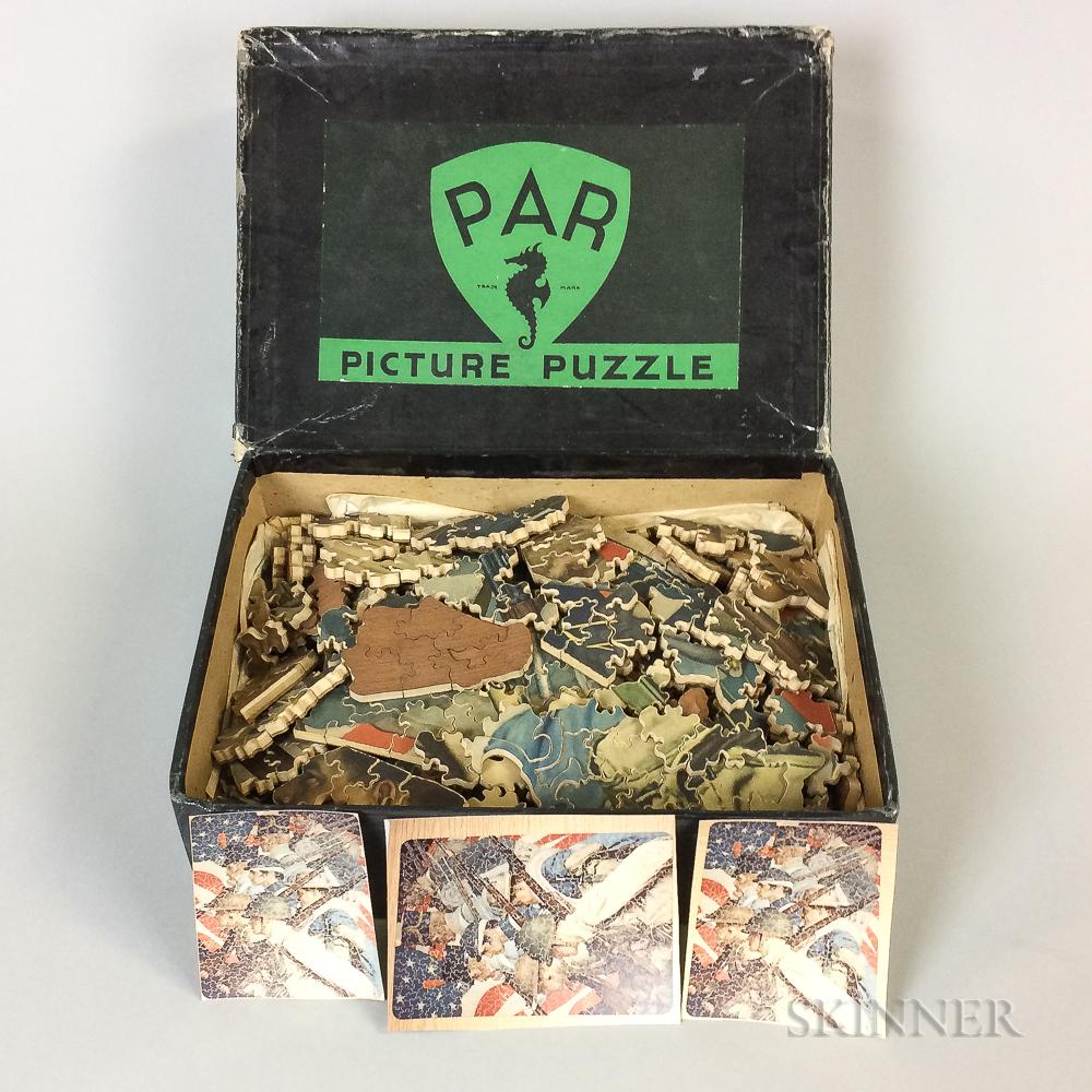 Boxed PAR Lithographed Wood Patriotic Jigsaw Puzzle