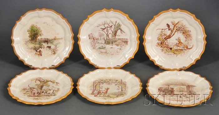 Six Wedgwood Lessore Decorated Queen's Ware Spanish-shape Plates