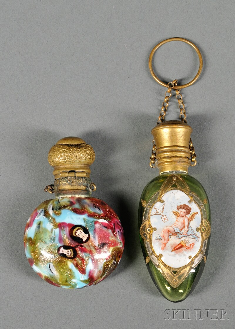Two Enameled Glass Perfumes