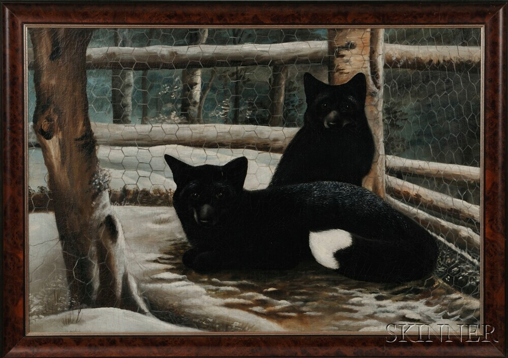 American School, Late 19th/Early 20th Century    Two Foxes in the Snow