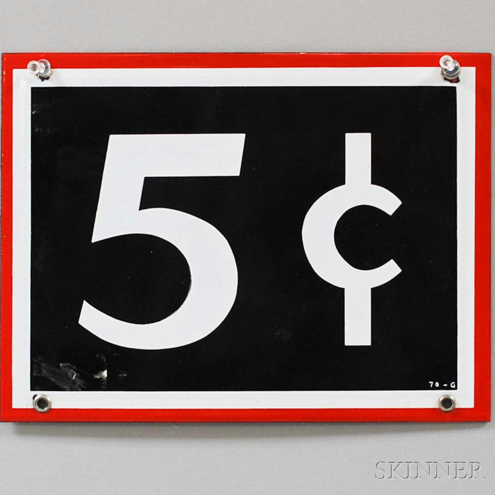 Enameled Five Cent Sign
