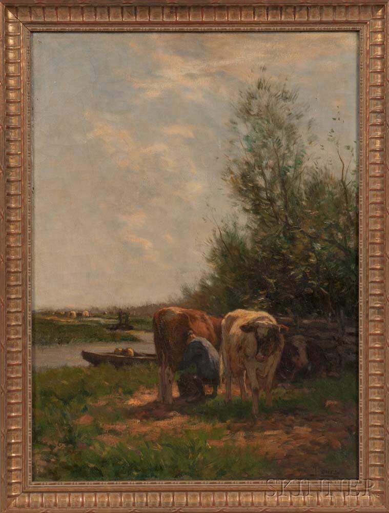 Johannes Karel Leurs (Dutch, 1865-1938)      Cows Beside a Stream and Farmland
