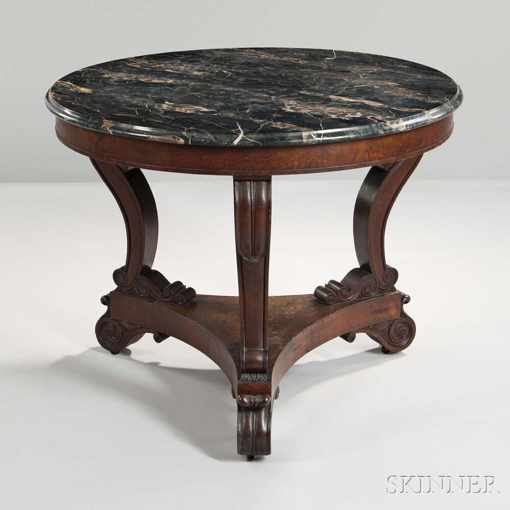 Carved Mahogany and Mahogany Veneer Marble-top Center Table