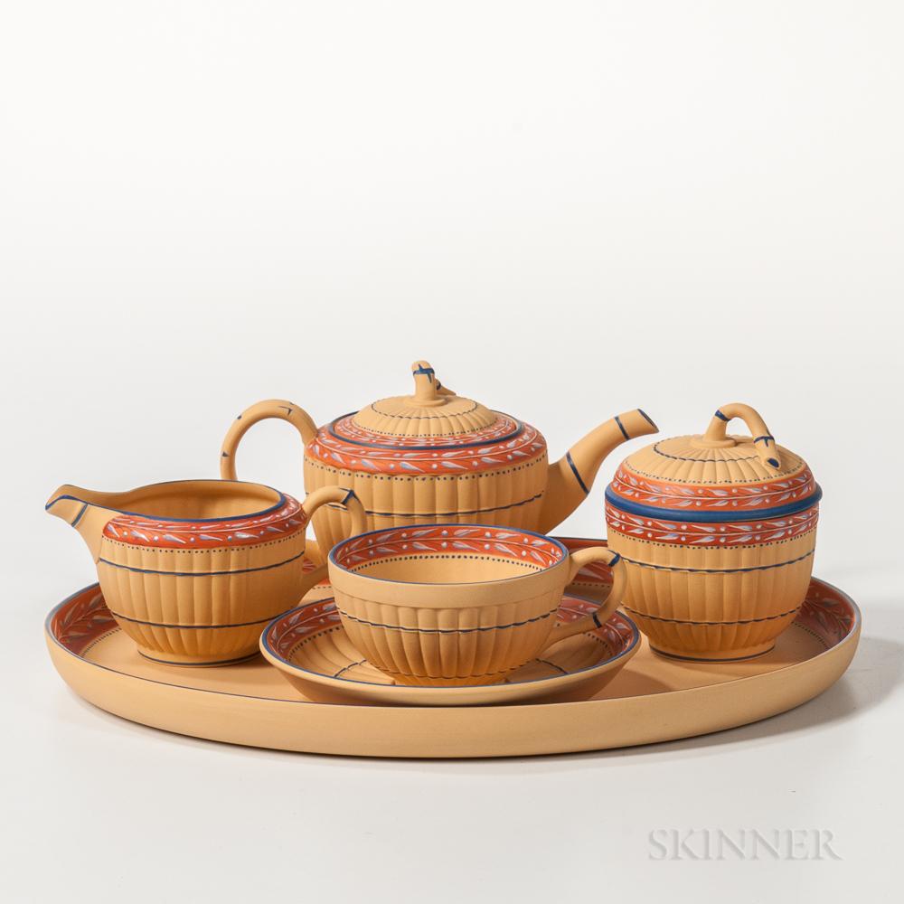 Modern Five-piece Encaustic Decorated Caneware Tea Set