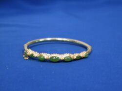 14kt Gold and Nephrite Jade Bangle Bracelet.