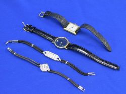 Cartier and Movado Wristwatches and Two Diamond Accented Swiss Wristwatches.