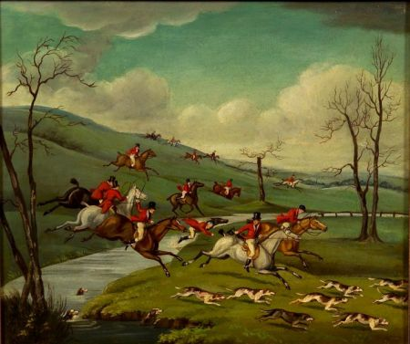 Attributed to Charles Loraine Smith (British, 1751-1835)    Hunters and Dogs in Full Cry