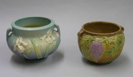 Roseville Pottery Iris Pattern and Wisteria Pattern Jardinieres