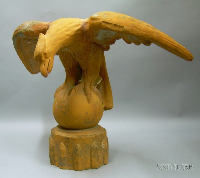 Terra-cotta Eagle on Orb Architectural Finial