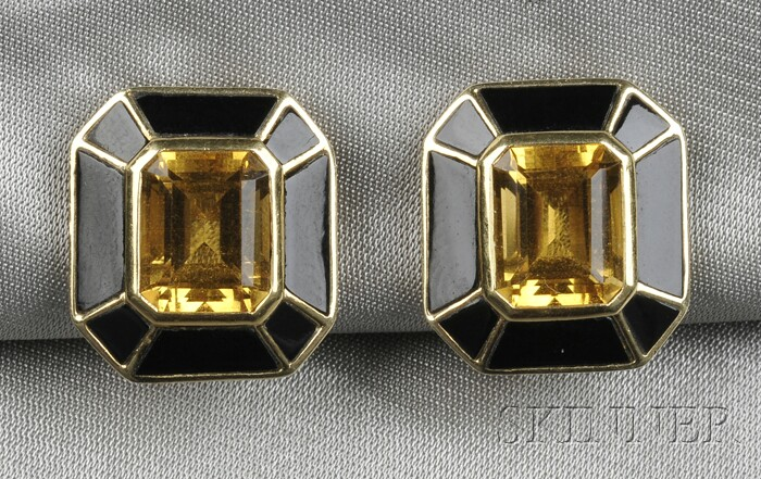 14kt Gold, Citrine, and Onyx Earclips