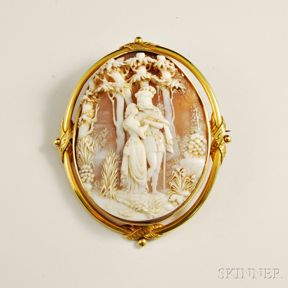 18kt Gold and Shell Cameo Pendant Brooch