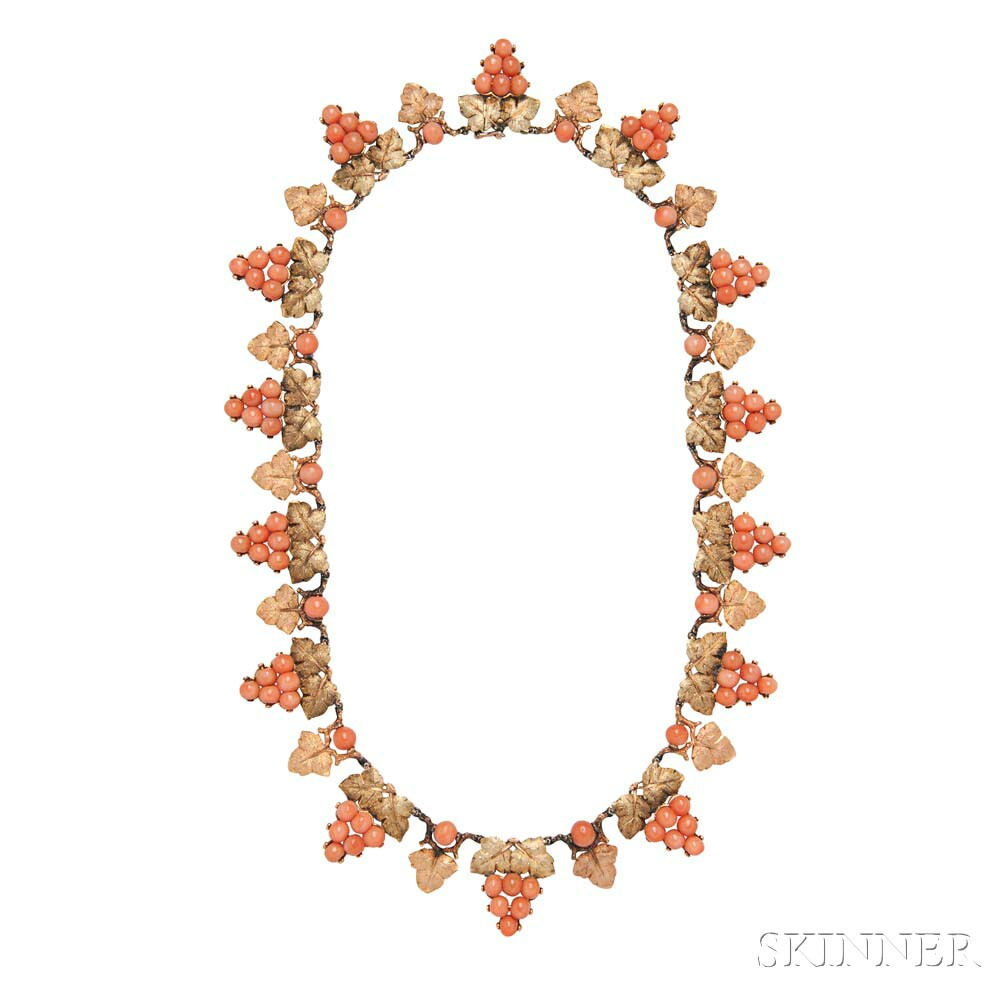 18kt Gold and Coral Necklace and Earrings, Buccellati