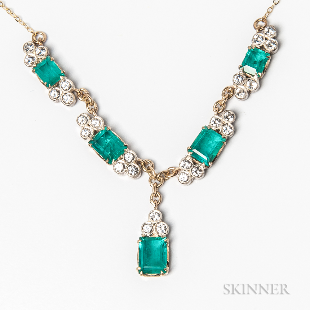 14kt Gold, Emerald, and Diamond Necklace