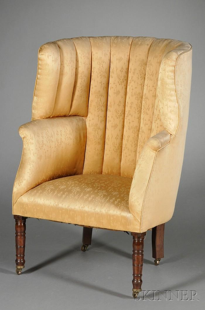 Late Regency Mahogany Barrel-back Wing Chair
