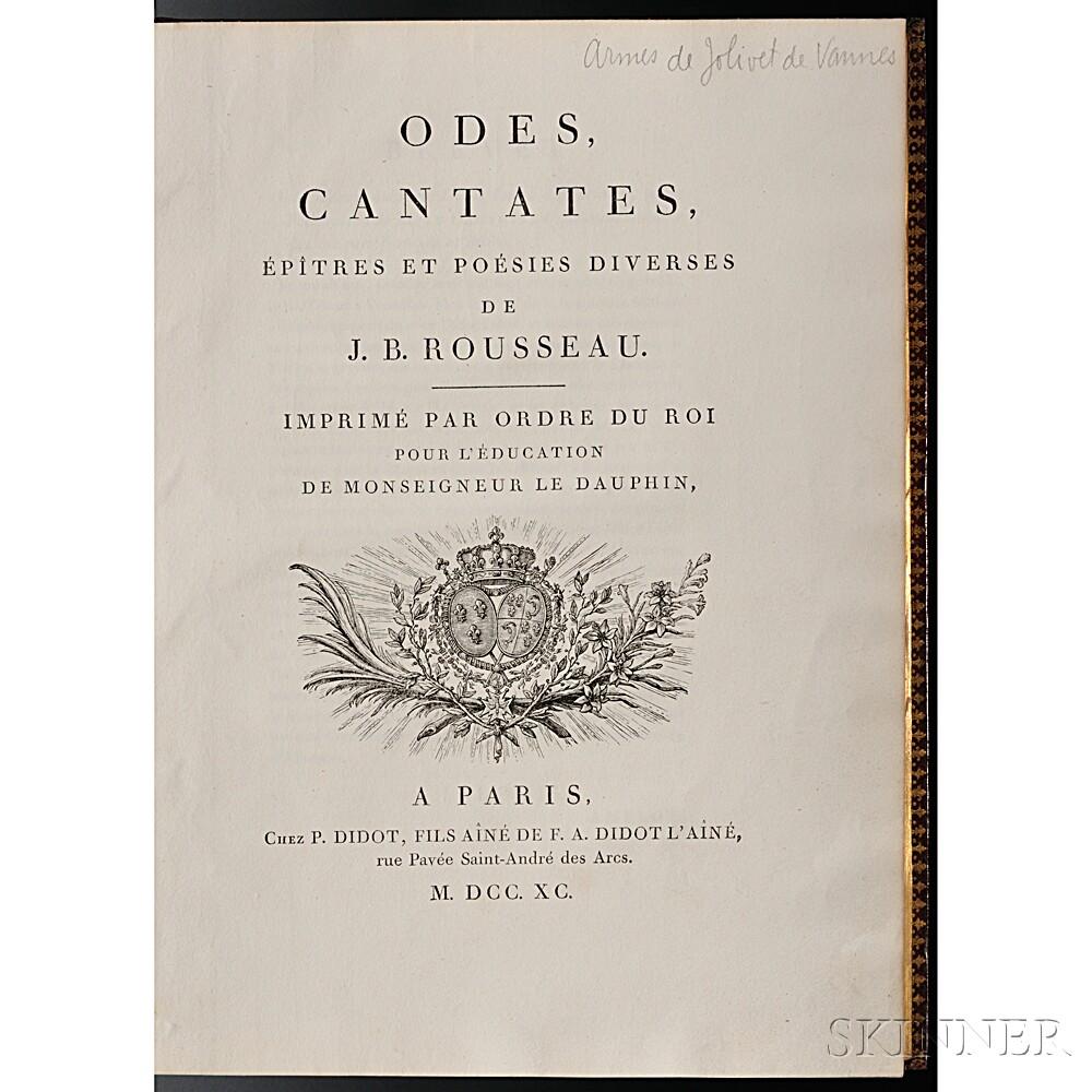 Rousseau, Jean-Baptiste (1671-1741) Odes, Cantates, Epistres et Poesies Diverses.