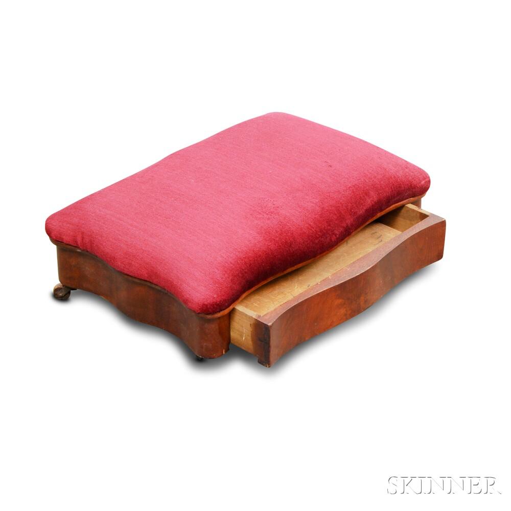 Empire Mahogany Veneer Upholstered Hidden Drawer Footstool