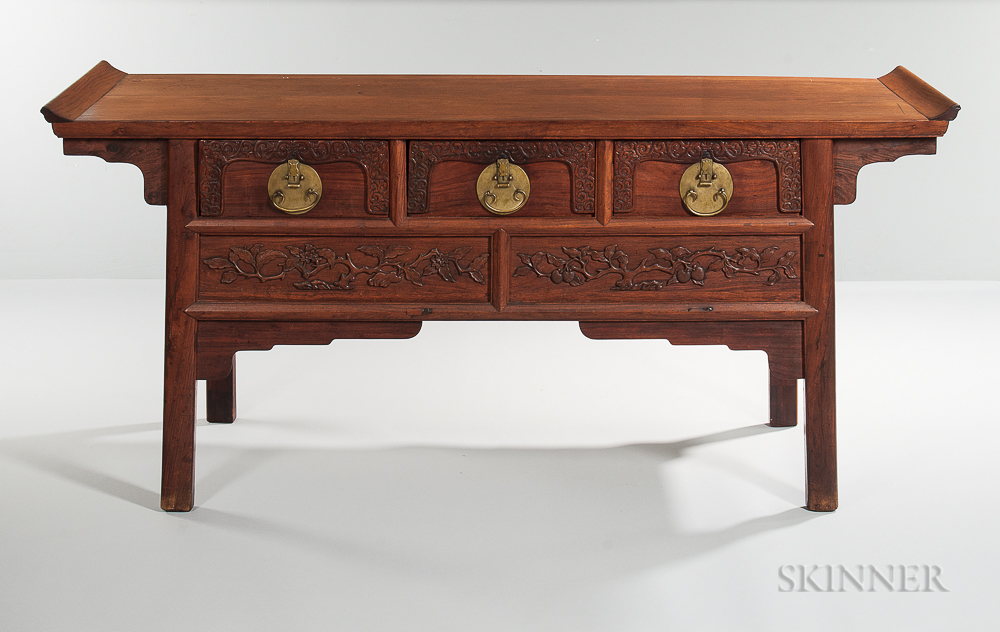Sold for: $29,520 - Three-drawer Hardwood Altar Coffer ... - Asian Furniture Skinner Auctioneers