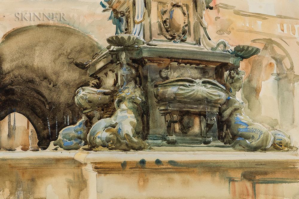 John Singer Sargent (American, 1856-1925)      Bologna Fountain