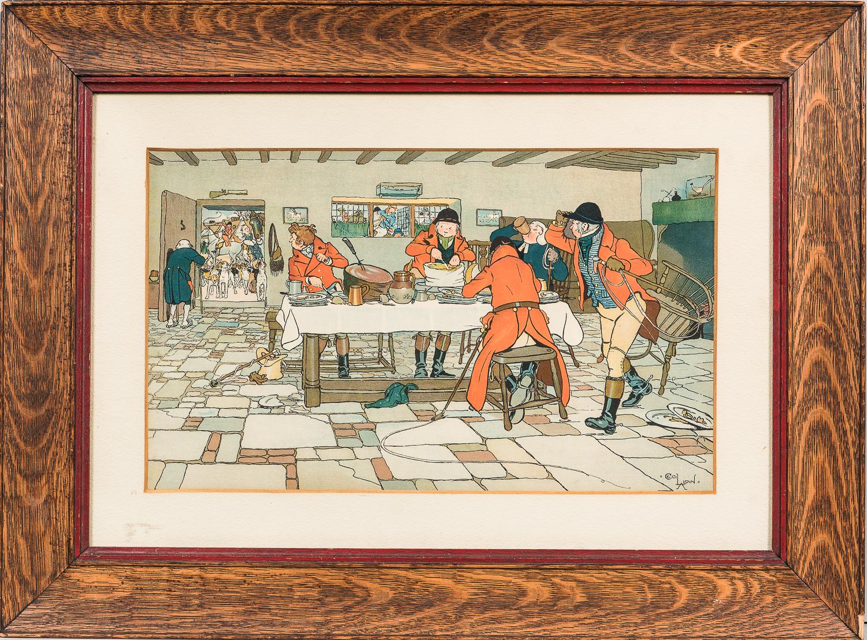 Cecil Charles Windsor Aldin (British, 1870-1935)      The Fallowfield Hunt, Breakfast at the Three Pigeons