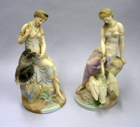 Pair of Continental Bisque Figural Groups