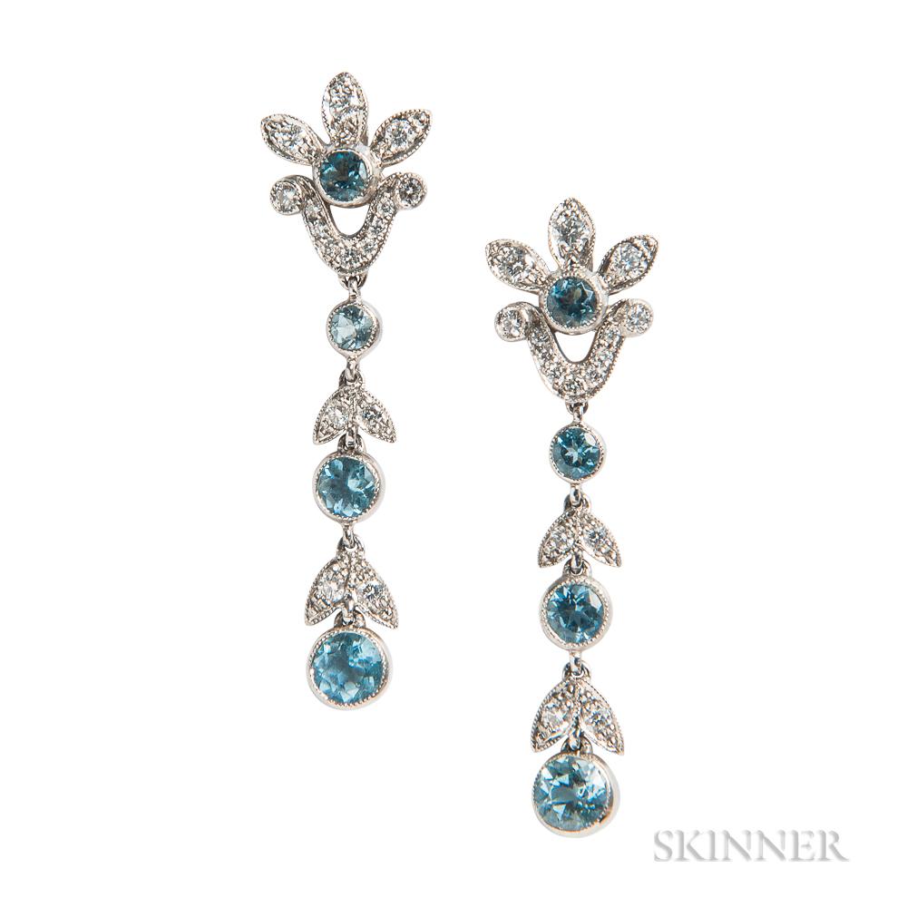 Platinum and Aquamarine Earrings, Tiffany & Co.