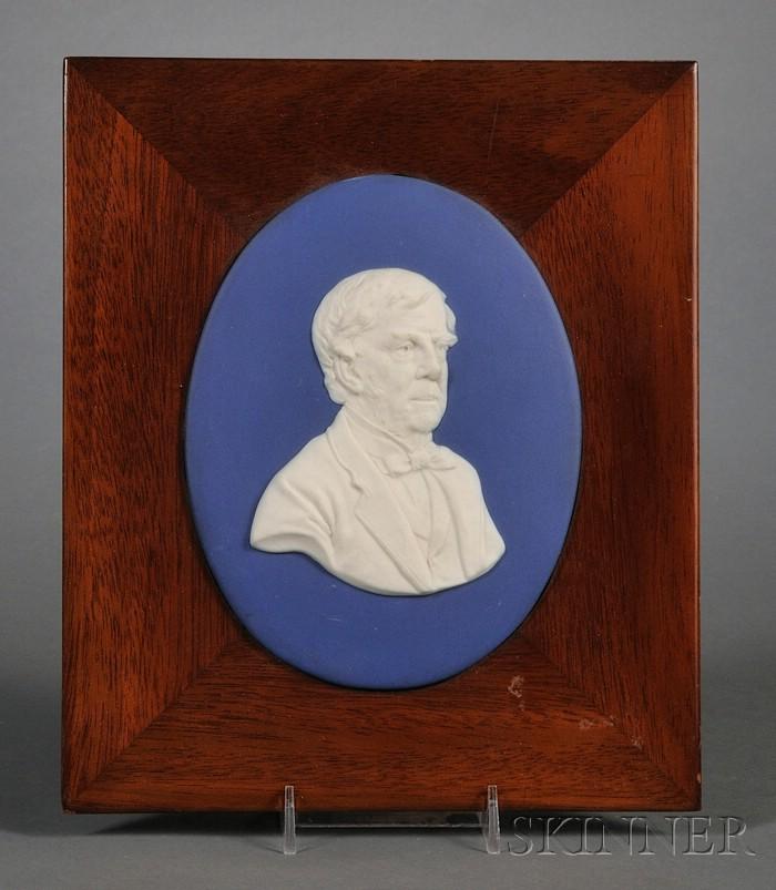 Wedgwood Dark Blue Jasper Dip Portrait Plaque of Oliver Wendell Holmes