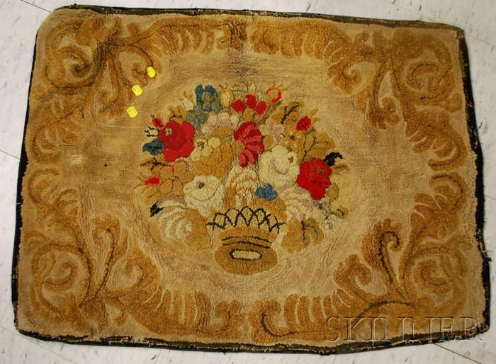 Basket of Flowers Pattern Hooked Rug