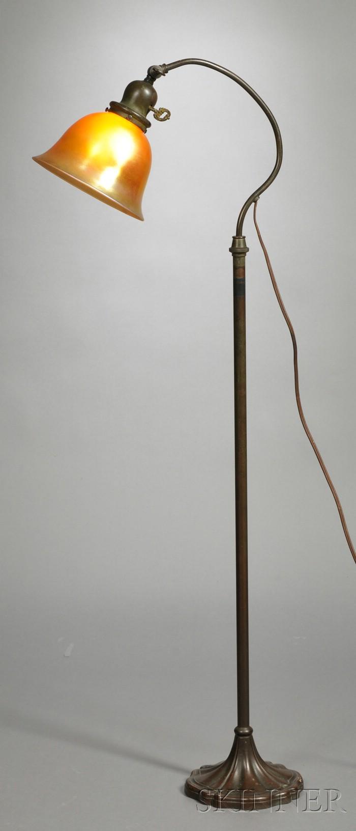 Floor Lamp with Steuben Aurene Shade