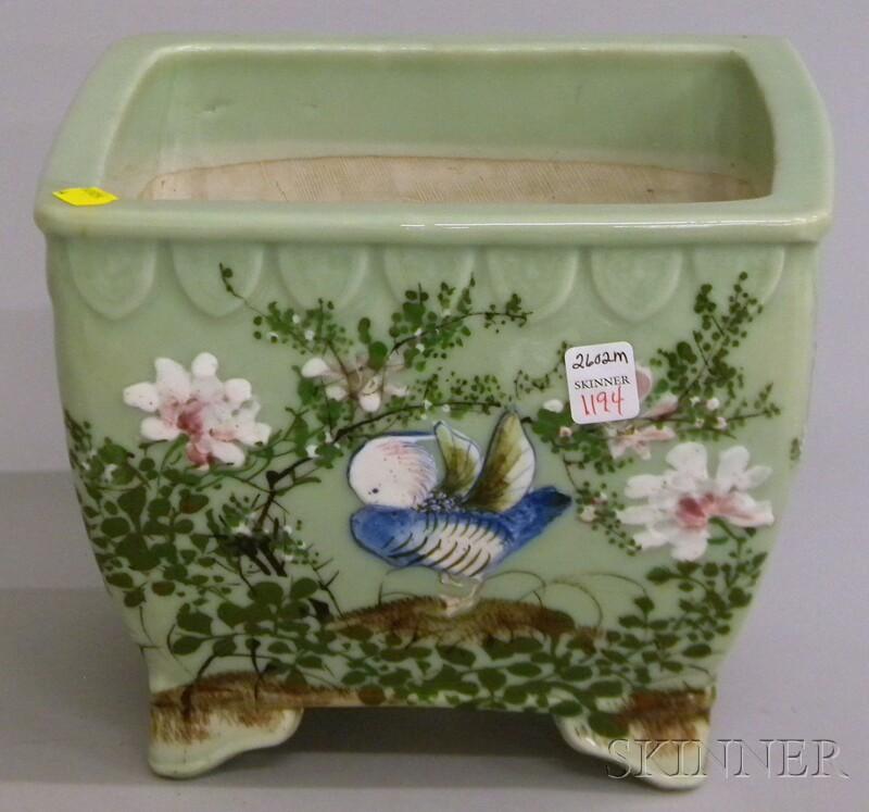 Chinese Celadon Glazed Enamel-decorated Porcelain Footed Jardiniere