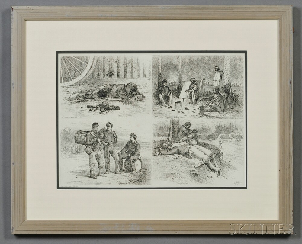 E. Forbes 1876 Etching of Civil War Vignettes