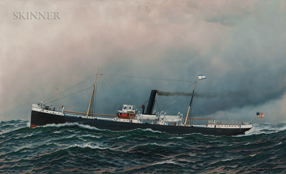 Antonio Nicolo Gasparo Jacobsen (Danish/American, 1850-1921)      Portrait of the Clyde Line Steamer Navahoe