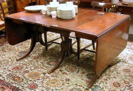 Duncan Phyfe Style Mahogany And Mahogany Veneer Drop Leaf Dining Table Sale Number 2294 Lot Number 930 Skinner Auctioneers