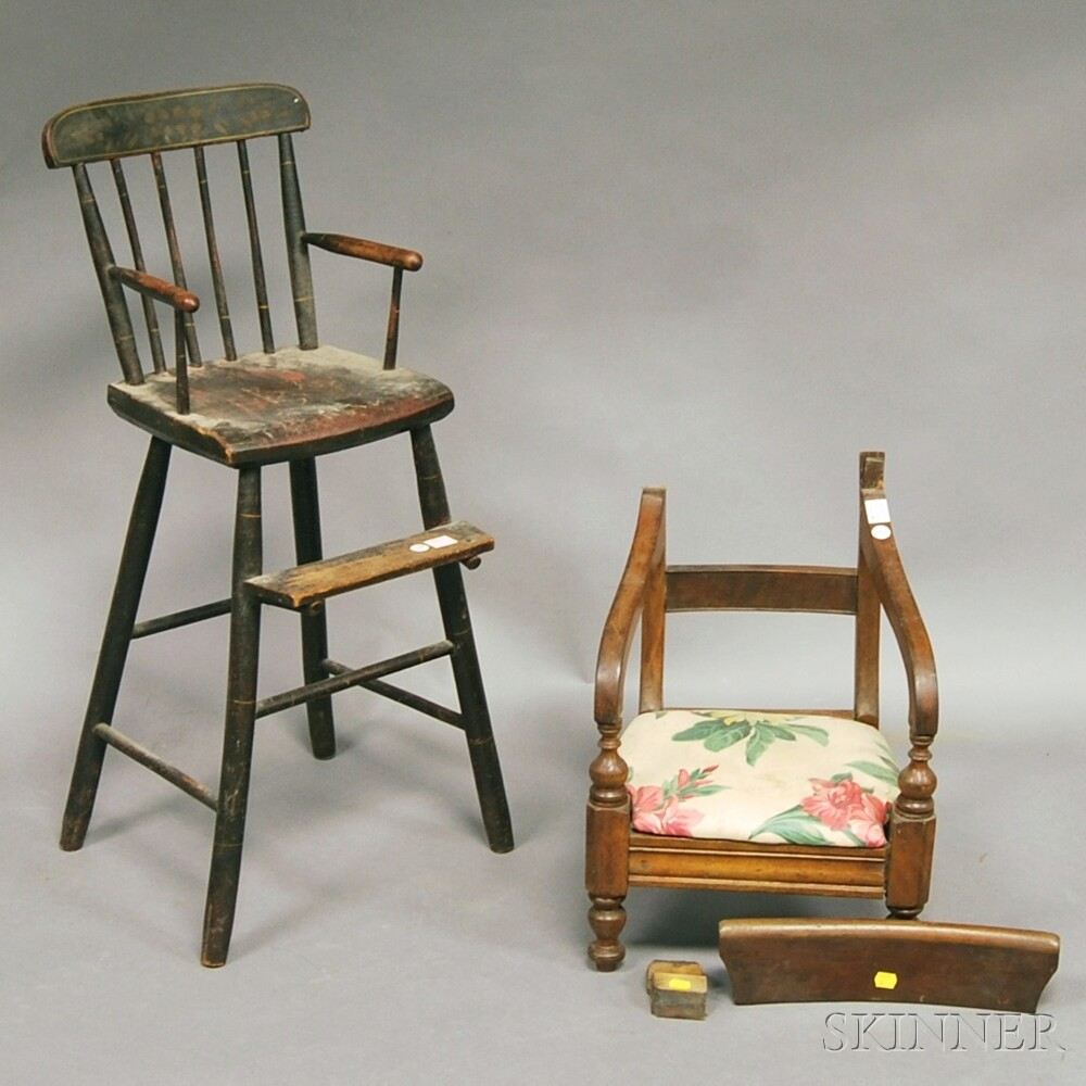 Child's Paint-decorated Wood Rod-back High Chair and Late Classical   Mahogany Armchair.     Estimate $75-100