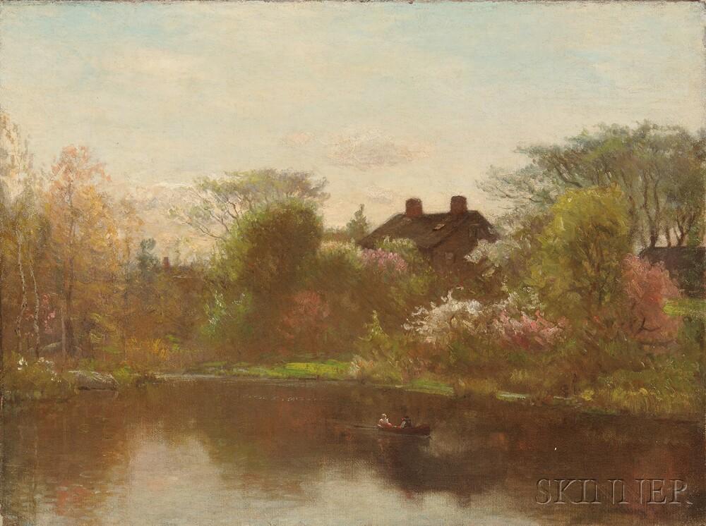John Joseph Enneking (American, 1841-1916)      Pond in Spring, Possibly Hyde Park