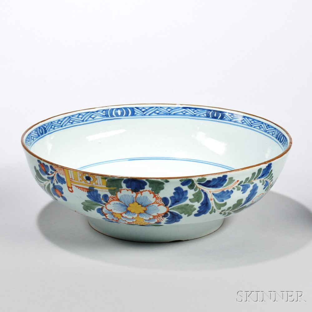 Tin-glazed Earthenware Polychrome Enamel-decorated Punch Bowl