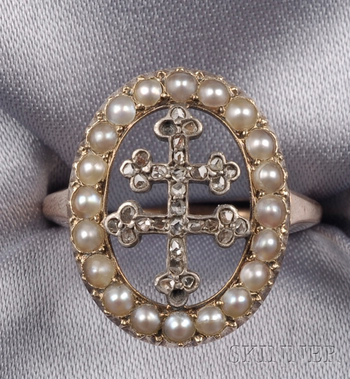 Antique Rose-cut and Seed Pearl Diamond Ring