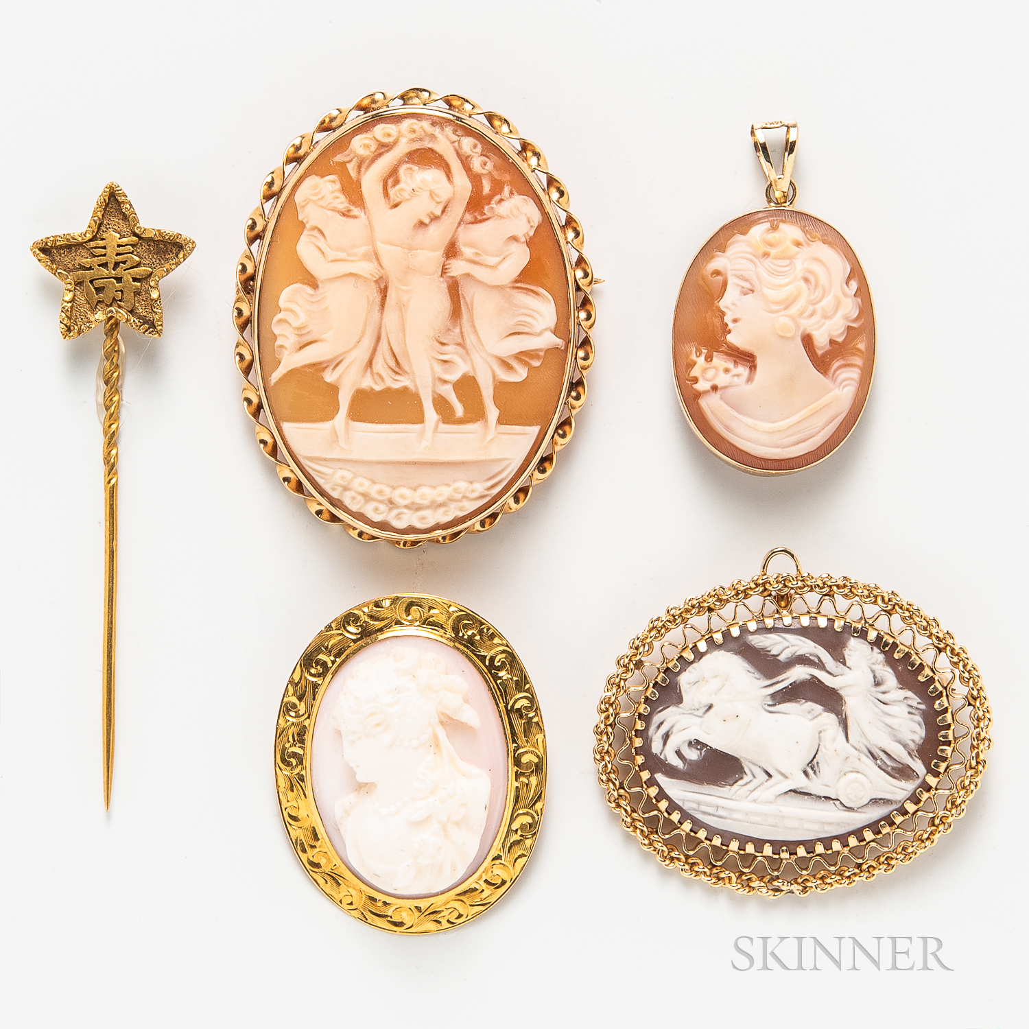 Four 14kt Gold and Shell Cameo Items