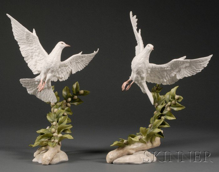 Two Boehm Porcelain Figure of Doves of the Eternal City