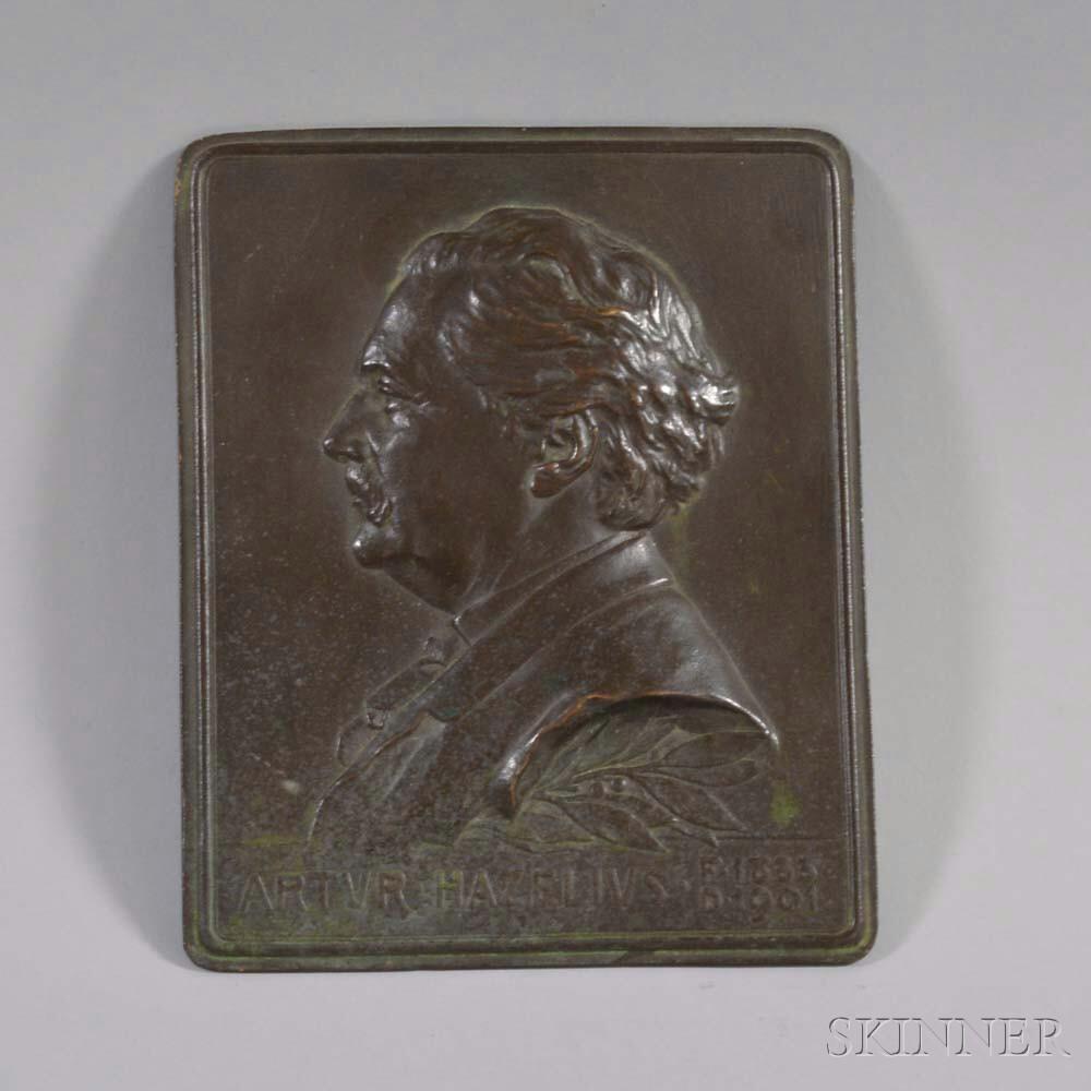 Artur Hazelius Bronze Commemorative Portrait Plaque