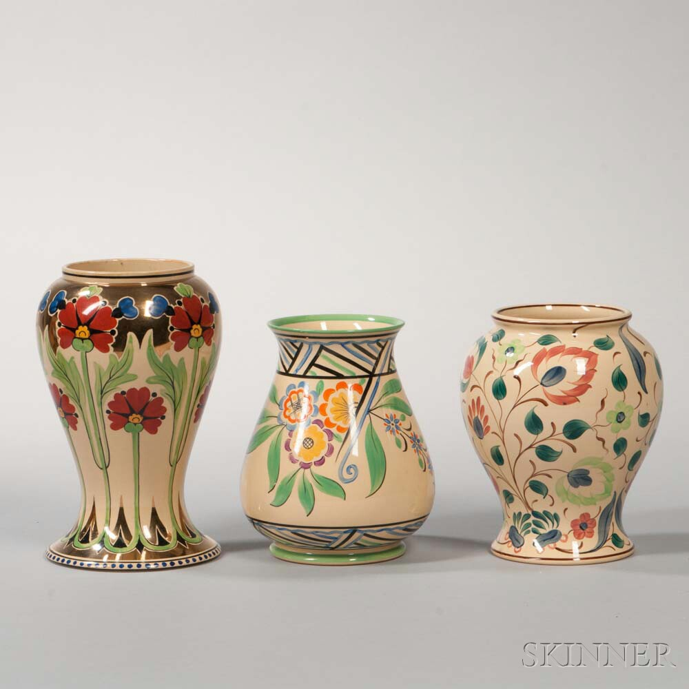 Three Wedgwood Millicent Taplin Design Cane Glazed Vases