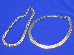 Italian 14kt Herringbone and Braided Necklaces.