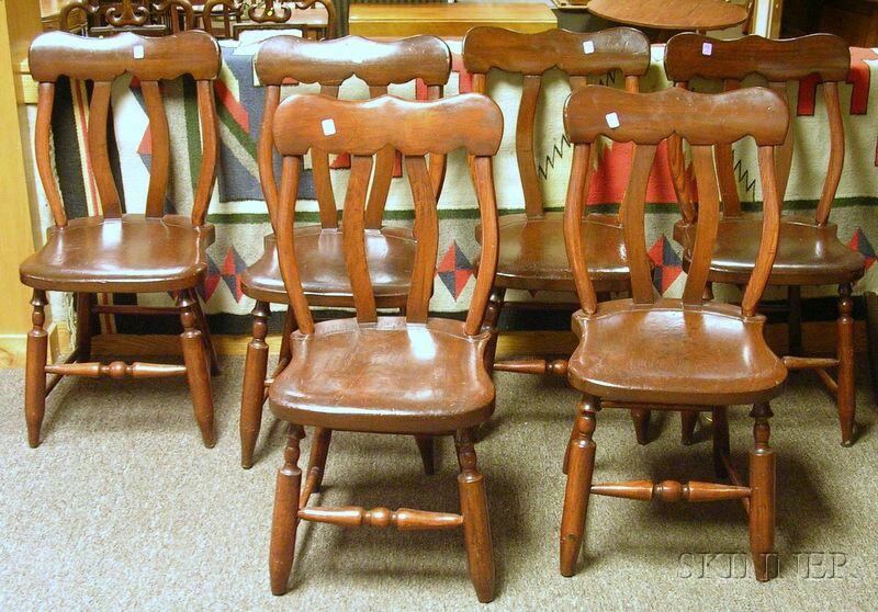 Set of Six Stained Maple and Ash Side Chairs