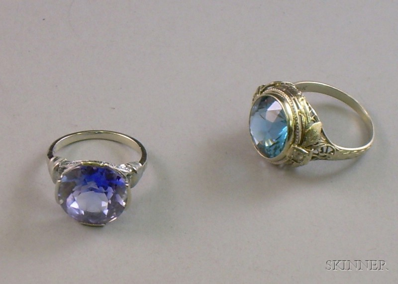Two 14kt White Gold and Gemstone Rings, size 5 1/2 and 7.