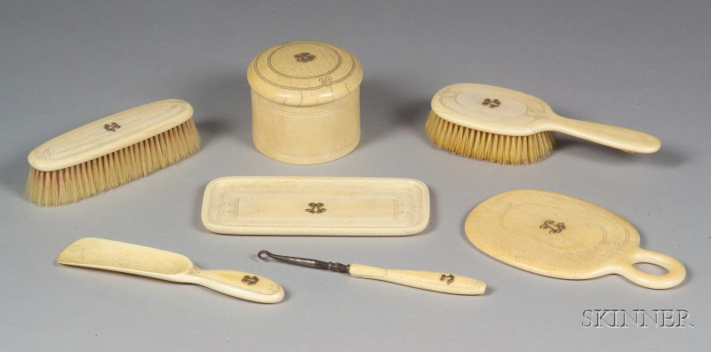 Seven Piece Carved Ivory Vanity Set